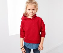 Kids Girls Hooded Sweatshirt in Layered Look, Red