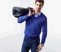 Men Long Sleeve Pullover, Blue