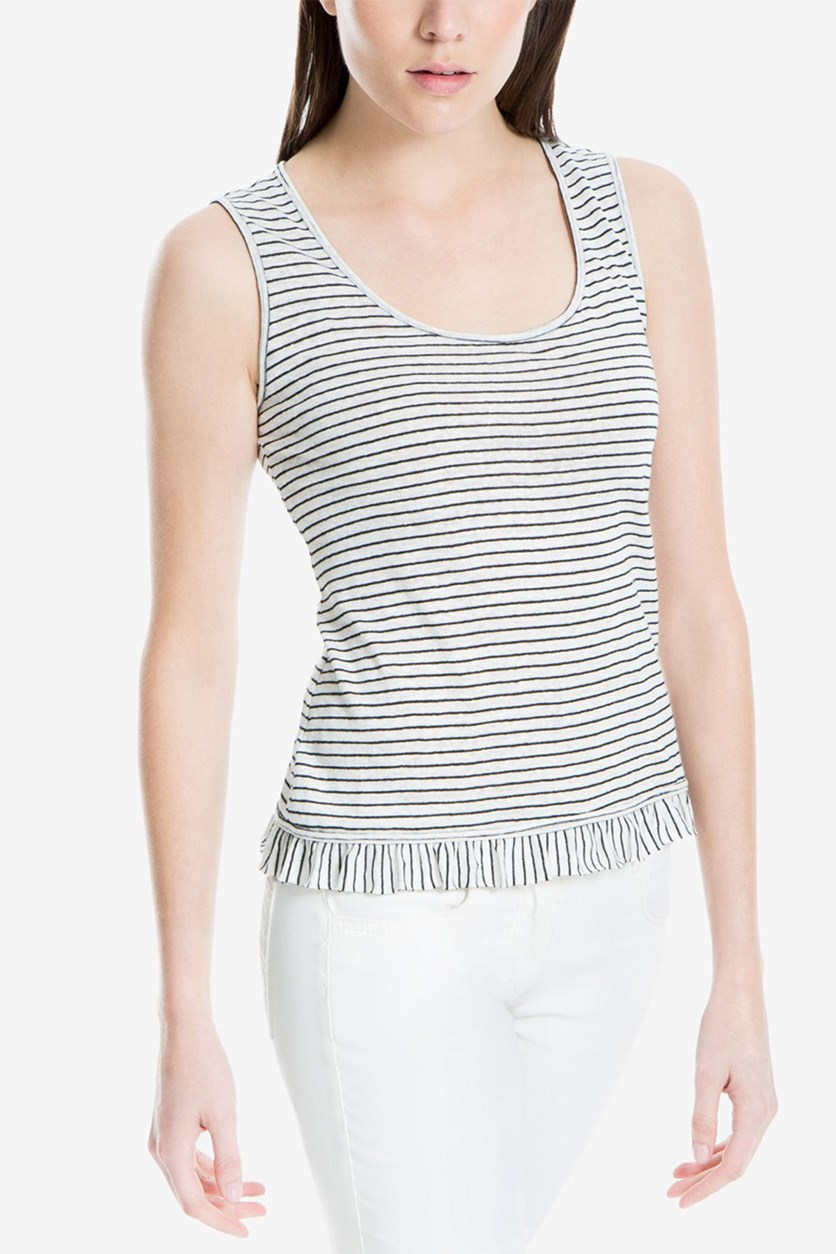 London Striped Ruffle Hem Tank Top, White/Black