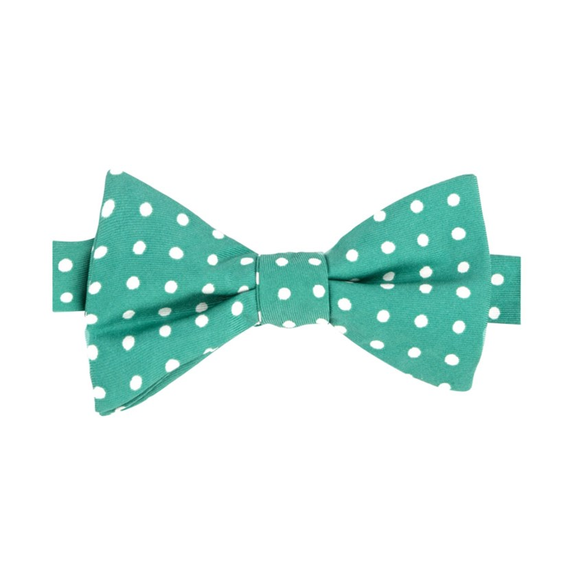 Men's Printed Dot Pre-Tied Silk Bow Tie, Green