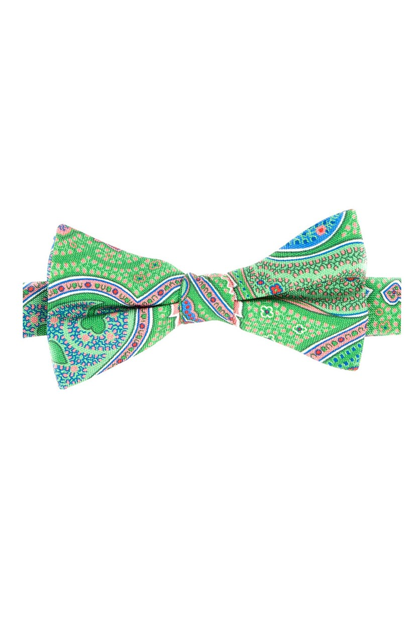 Men's Tropic Paisley Pre-Tied Silk Bow Tie, Green