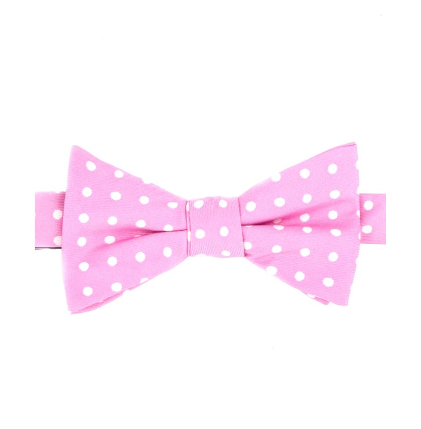 Men's Printed Dot To-Tie Silk Bow Tie, Pink