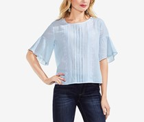 Vince Camuto Embroidered Crinkle Cotton Top, Blue