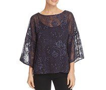 Vince Camuto Embroidered Drop-Shoulder Top, Night Sky