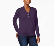 Women's V-Neckline Metallic Hardware Cotton Sweater, Purple