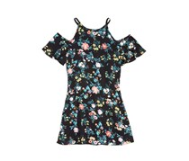 Aqua Girls' Floral Cold-Shoulder Dress, Black Combo
