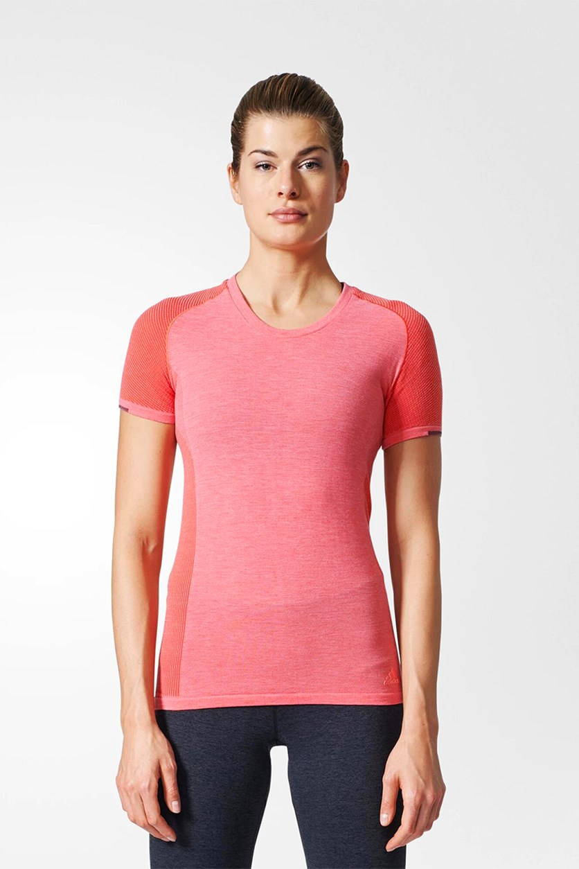 Women Running Primeknit Wool Tee, Easy Coral