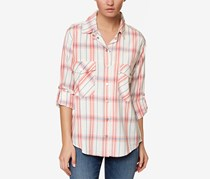 Sanctuary Women's The Steady Cotton Boyfriend Shirt, White/Orange