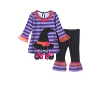 Bonnie Jean Baby Girls' Witches Hat Top And Leggings Set, Black/Purple