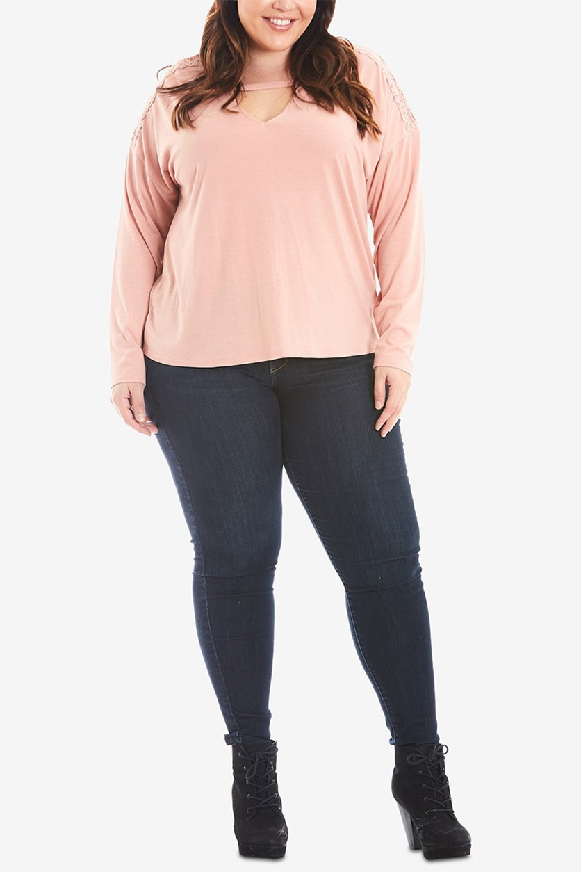 Trendy Plus Size Keyhole Top, Shimmer
