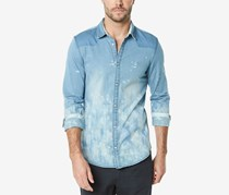 Buffalo David Bitton Mens Siguvn-X Woven Shirt, Light Indigo