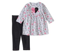 Bon Bebe Girl's Dress 2pc Outfit Set, Grey/Pink