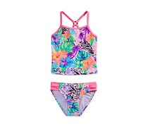 Breaking Waves 2 Pieces Tropical-Print Tankini, Pink Combo