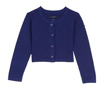 Nautica Girl's Cropped Cardigan, Navy