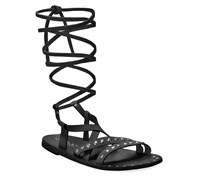 CHARLES by Charles David Steeler Flat Lace-Up Sandals, Black