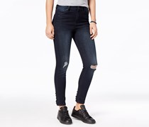 Celebrity Pink Juniors Lace-Up Ripped Skinny Jeans, Dark Blue