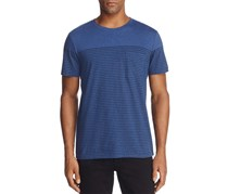 A.P.C Men's Round Neck Striped Shirt, Blue