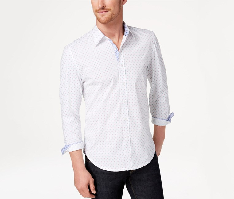 Mens Printed Shirt, White/ Blue/pink