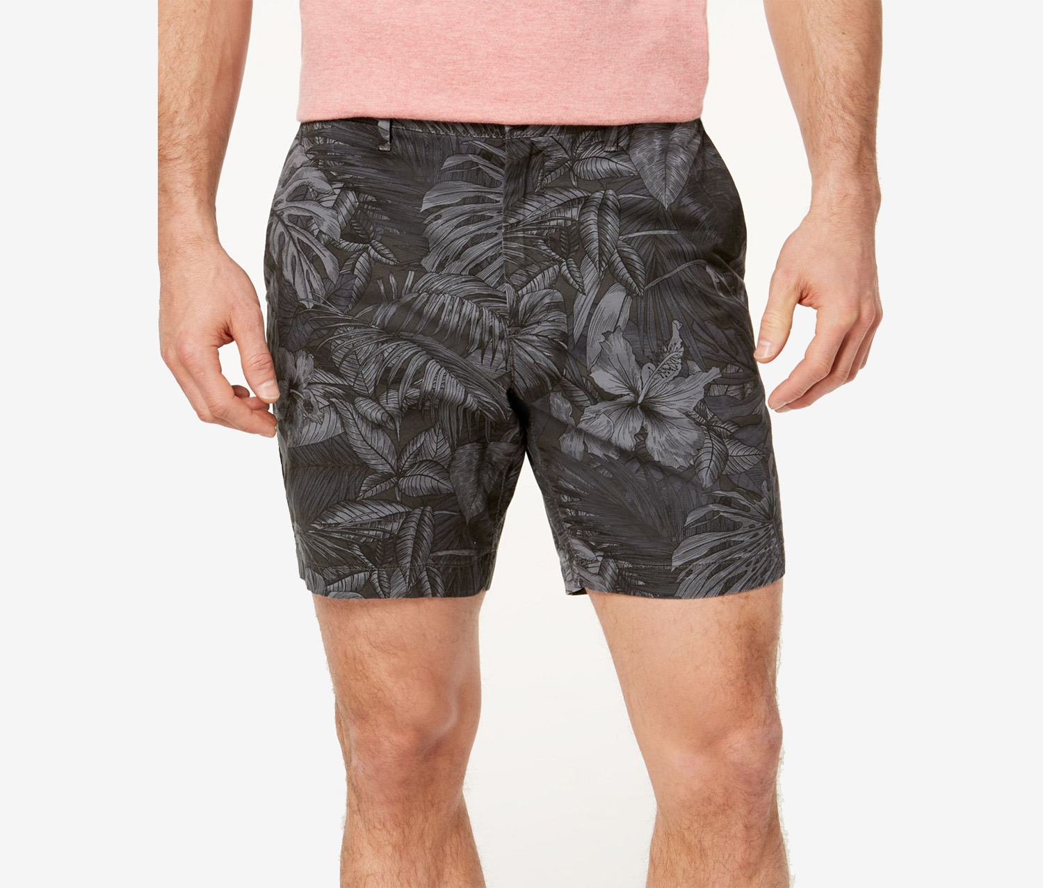 Mens Classic-Fit Stretch Floral Short, Smoke