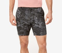 Michael Kors Mens Classic-Fit Stretch Floral Short, Smoke