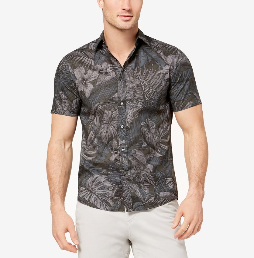 Tropical-Print Cotton Sport Shirt, Smoke