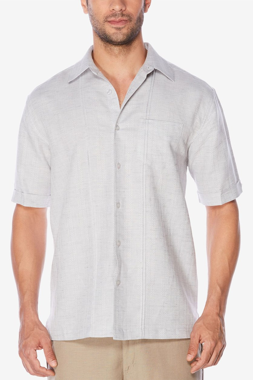 Mens Textured Shirt, Frost Gray