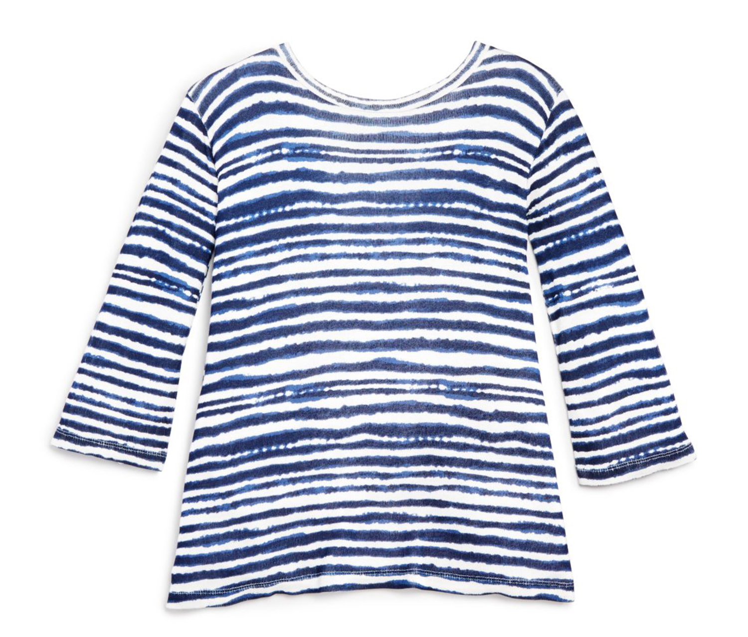 Splendid Girls' Tie Dye Striped Tee, Navy/White