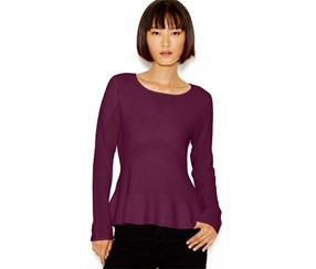 Bar Iii Women's Long-Sleeve Peplum Top, Purple