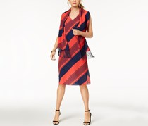 Donna Ricco Striped Shift Dress with Scarf, Red/Navy