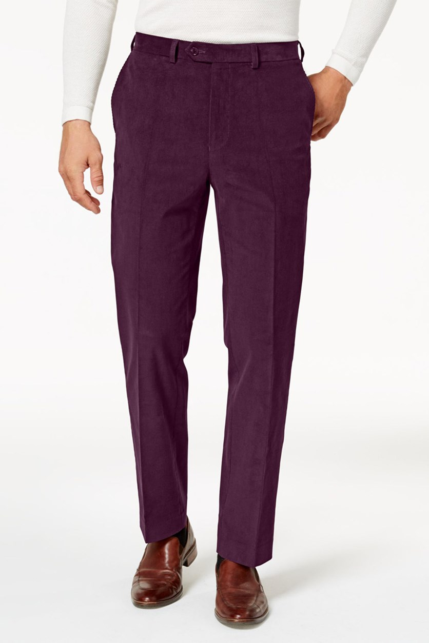 Mens Classic-Fit Stretch Cord, Burgundy