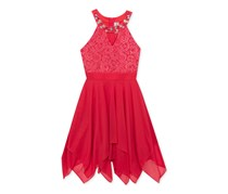 Rare Editions Embellished-Neck Dress, Red