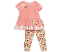 Rare Editions 2-Pc. Layered Look Tunic & Leggings Set, Pink