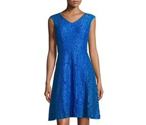 Ellen Tracy Women's  Lace Fit & Flare Dress, Blue