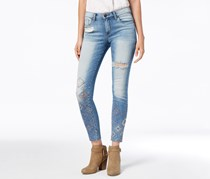 STS Blue Emma Embroidered Raw-Hem Skinny Jeans, Blue