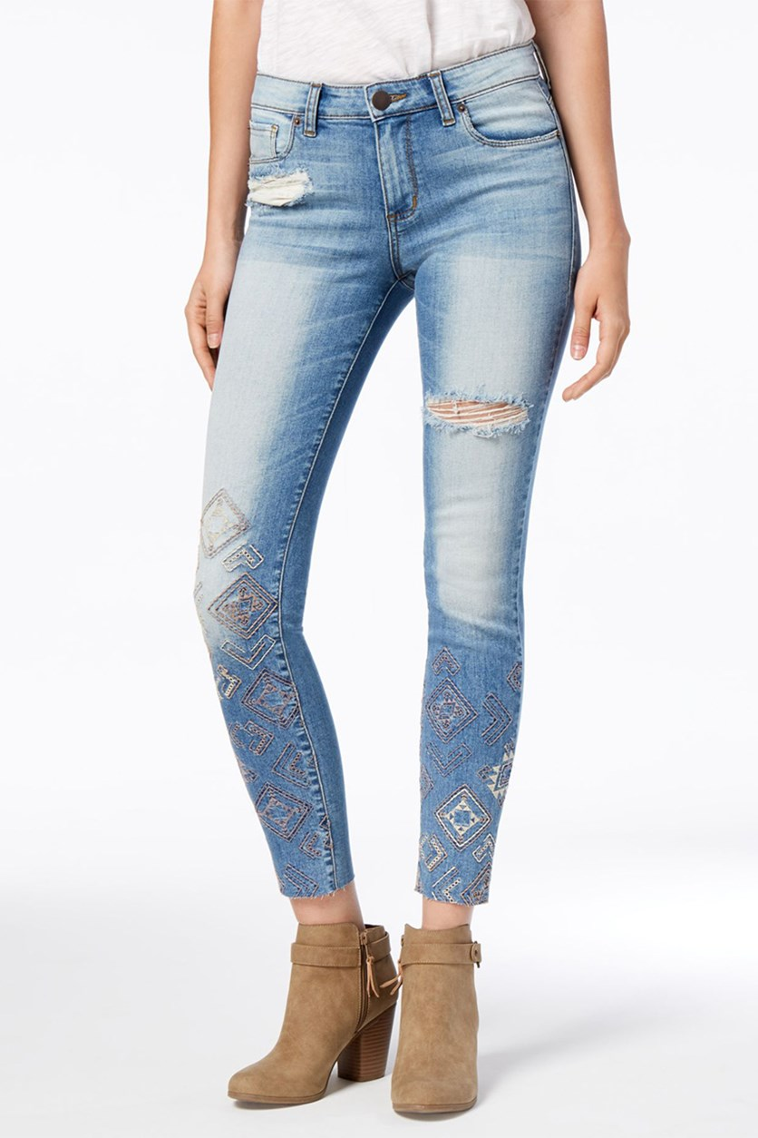 Emma Embroidered Raw-Hem Skinny Jeans, Blue