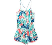 Roxy Big Girls Jungle-Print Romper, Blue Combo