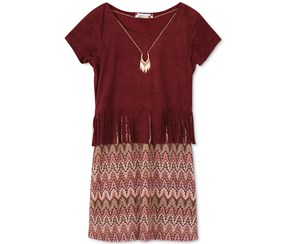 Speechless Girl's Faux-Suede Knit Dress, Burgndy/Pink