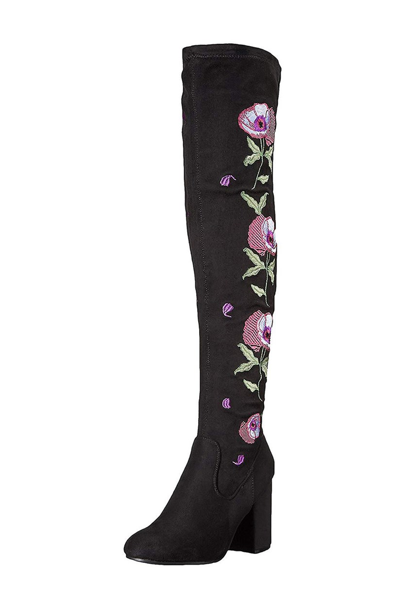 Womens Quality Embroidered Over-The-Knee Boots, Black Micro