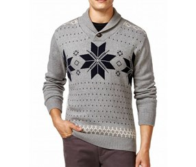 Weatherproof Men's Polo Fair Isle Shawl Collar Sweater, Grey/Black