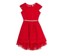 Rare Editions Lace Fit Flare Party Dress, Red