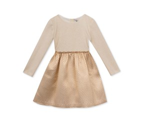 Long-Sleeved Party Dress, Ivory/Gold