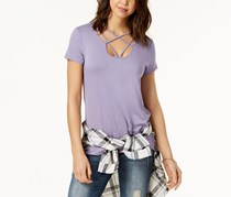 Hippie Rose Juniors Strap Detailed T-Shirt, Lavender