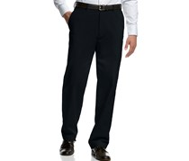 Men's Flat-Front Classic Fit Microfiber Pants, Navy