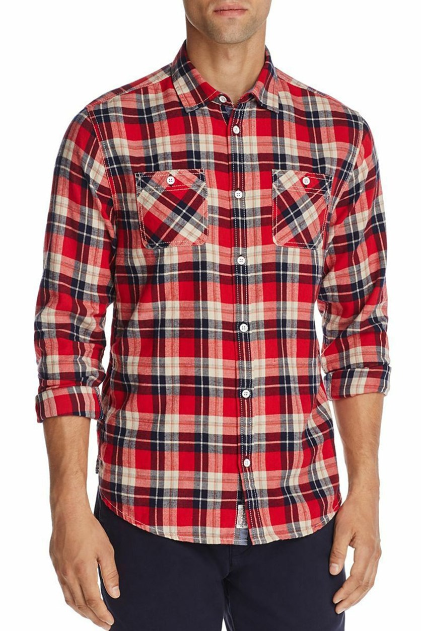 Men's Plaid Shirt, Red/Blue Combo