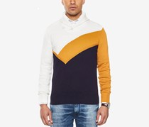 Sean John Men's Colorblocked Shawl-Collar Sweater, Cream