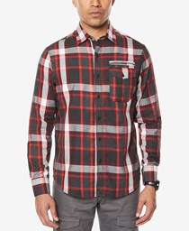 Sean John Mens Plaid Shirt,  Dark Grey Heather/Red