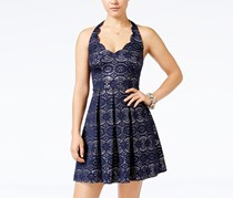 B Darlin Women's Sequined Lace Fit & Flare Halter Dress, Navy