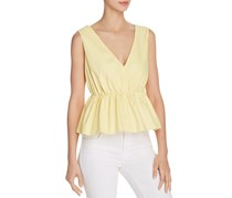 Aqua Women's Striped Peplum Top, Yellow/White