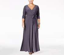 Plus Size Surplice V-Neck Maxi Dress, Grey