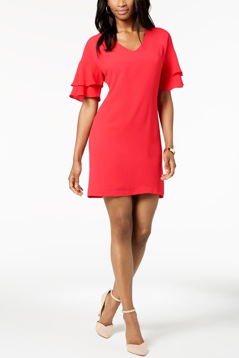 Petite Ruffle-Sleeve Shift Dress, Coral